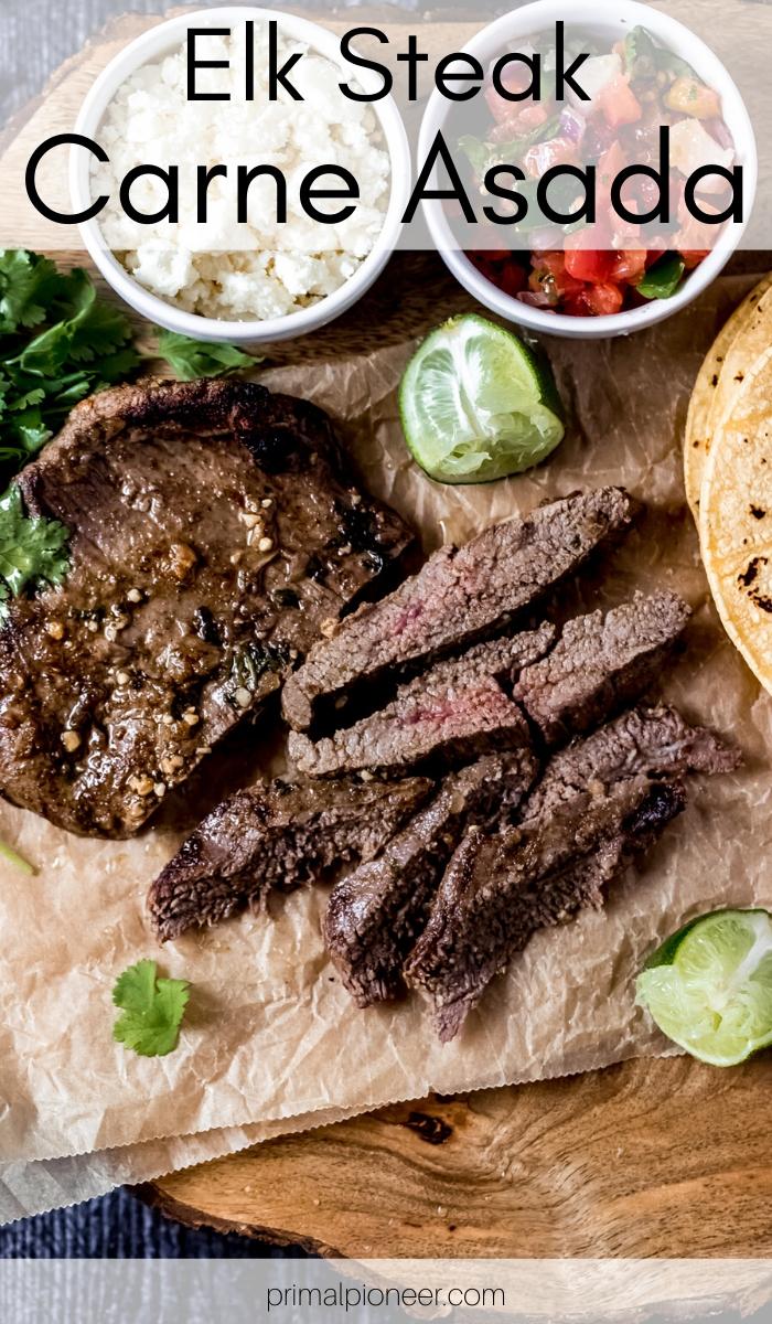 a sliced carne asada elk flank steak
