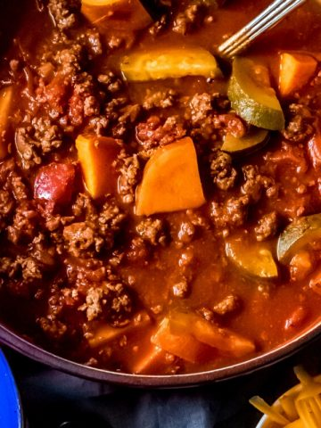 a large pot of elk chili