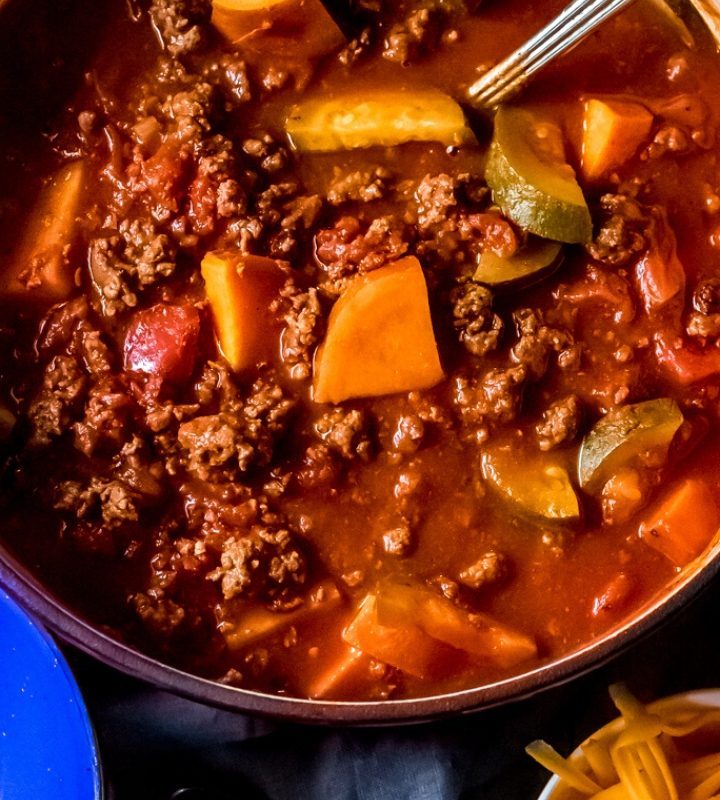 a large pot of elk chili