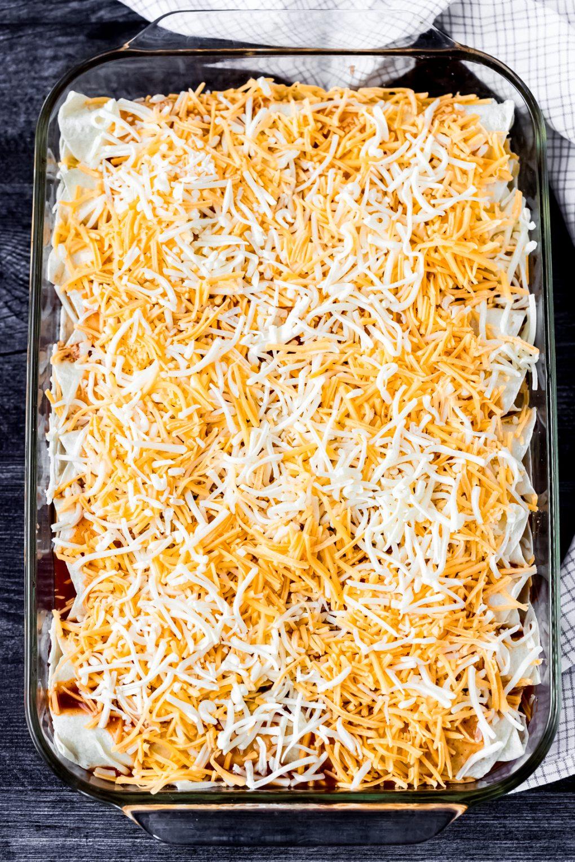 casserole dish of uncooked elk enchiladas