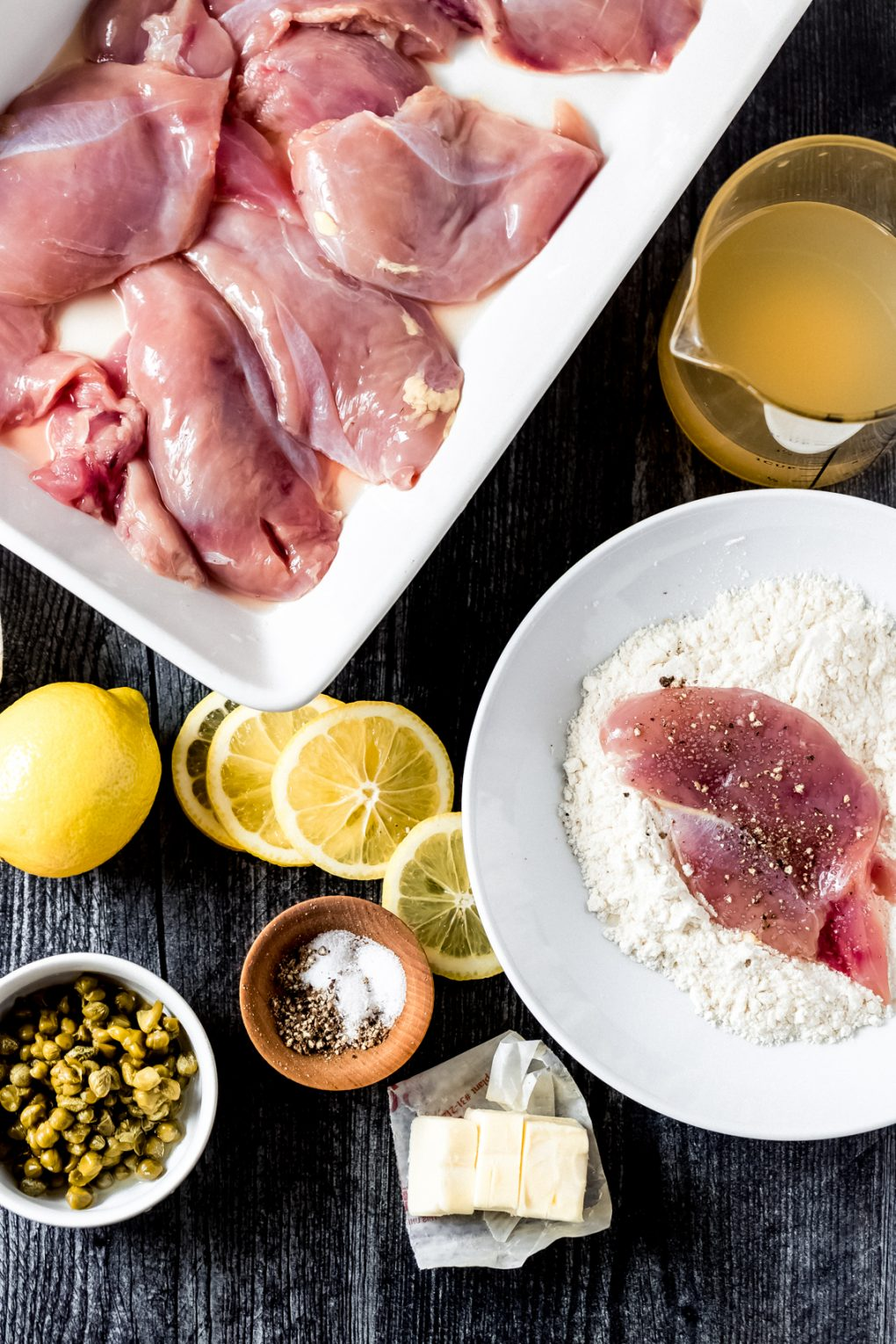ingredients for pheasant piccata on a table