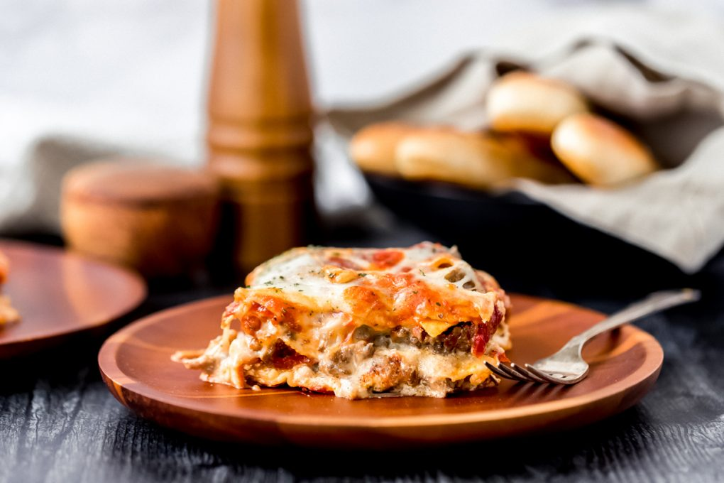 a serving of elk lasagna on a plate