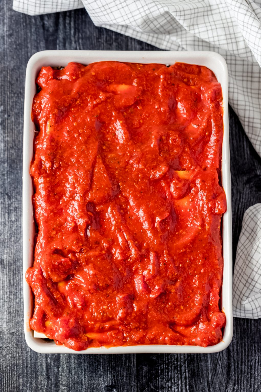 elk lasagna being assembled