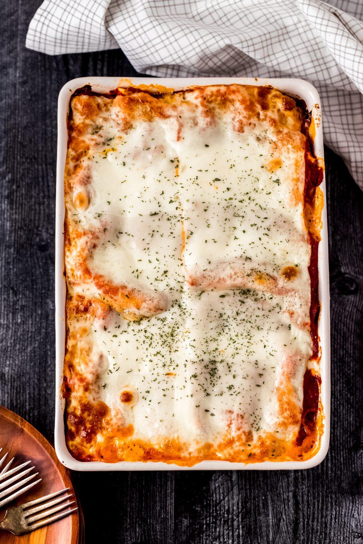 a baked dish of elk lasagna