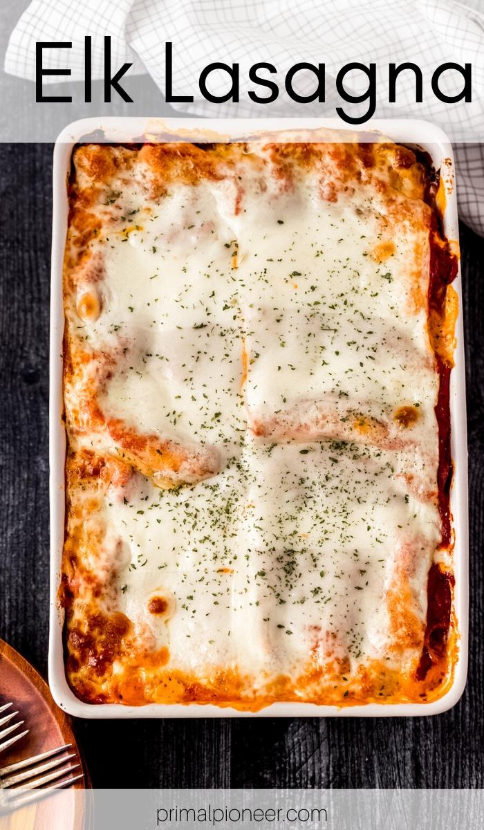 a baking dish of elk lasagna