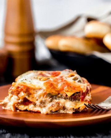 a plate of elk lasagna
