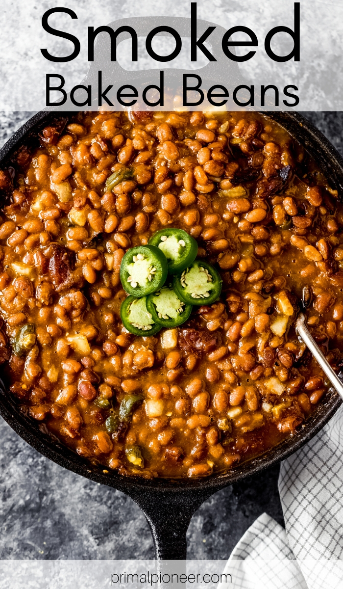 a cast iron skillet of smoked baked beans