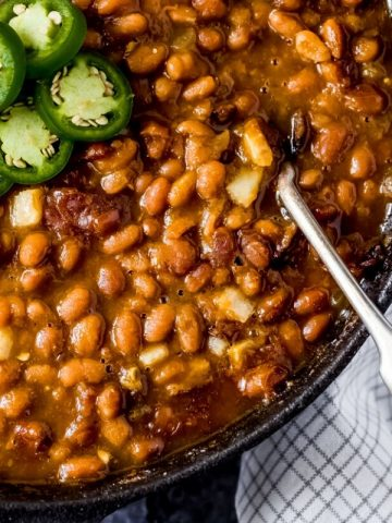 a skillet of smoked baked beans