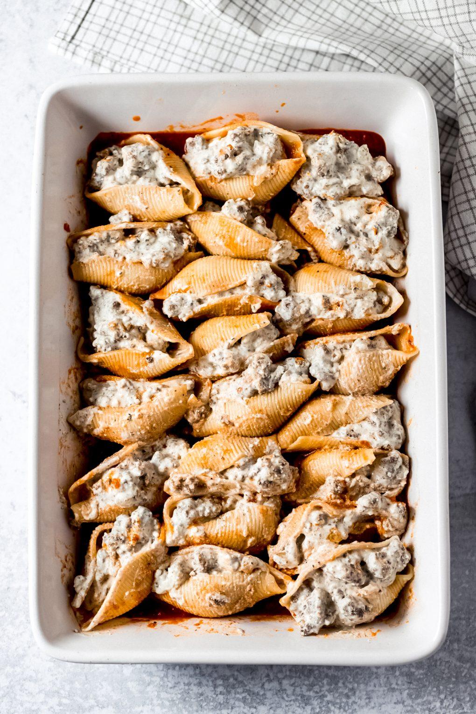 uncooked venison stuffed shells