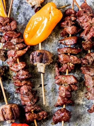 grilled venison kabobs on skewers