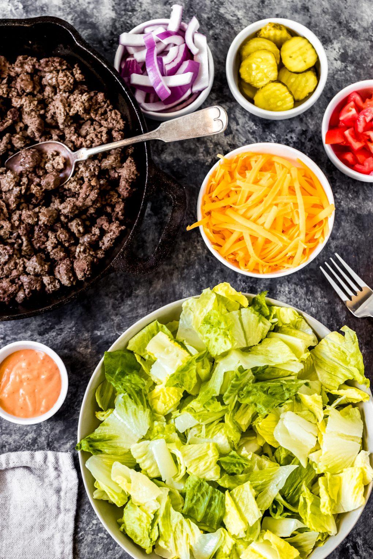 ingredients to make a ground venison Big Mac salad