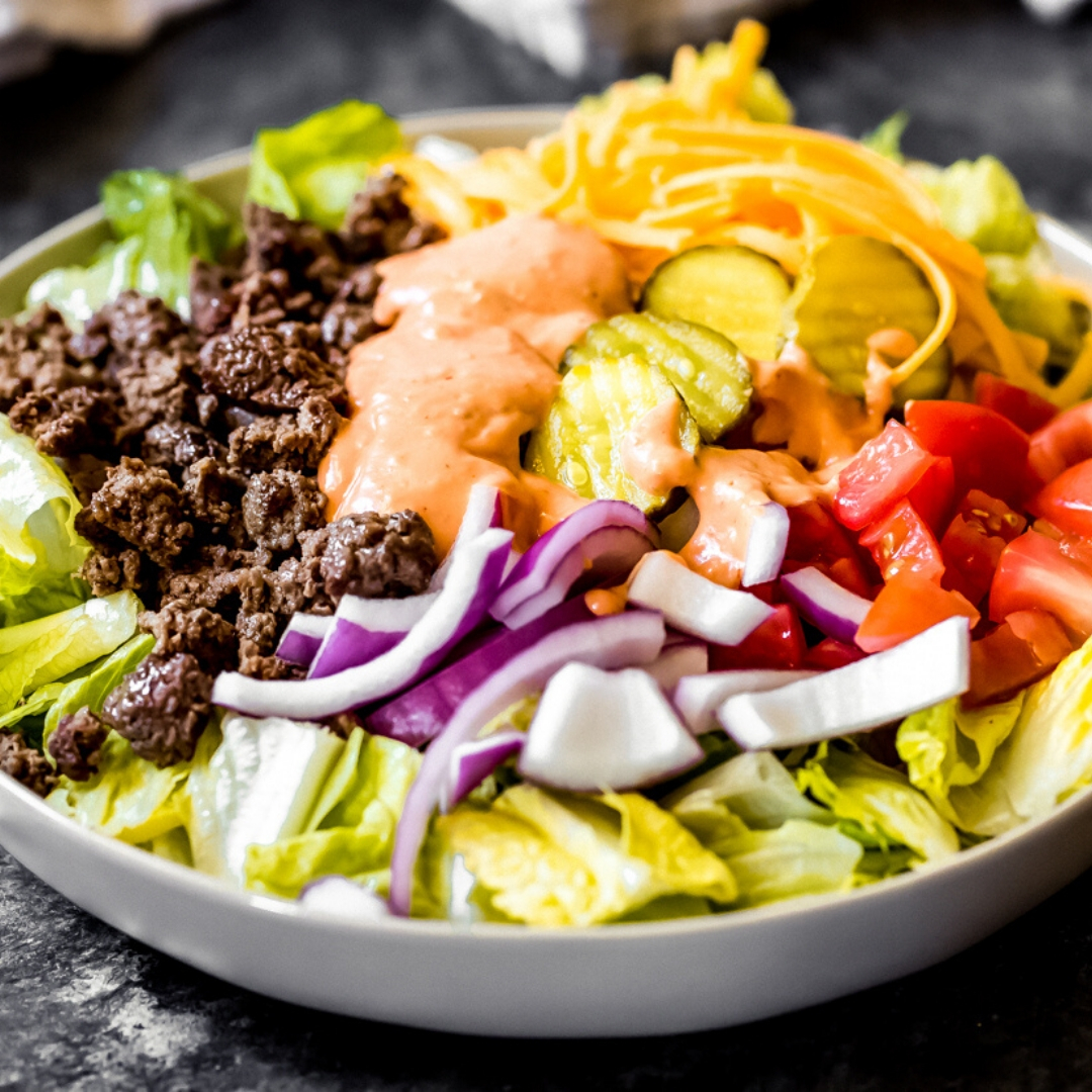 a ground venison Big Mac salad in a bowl