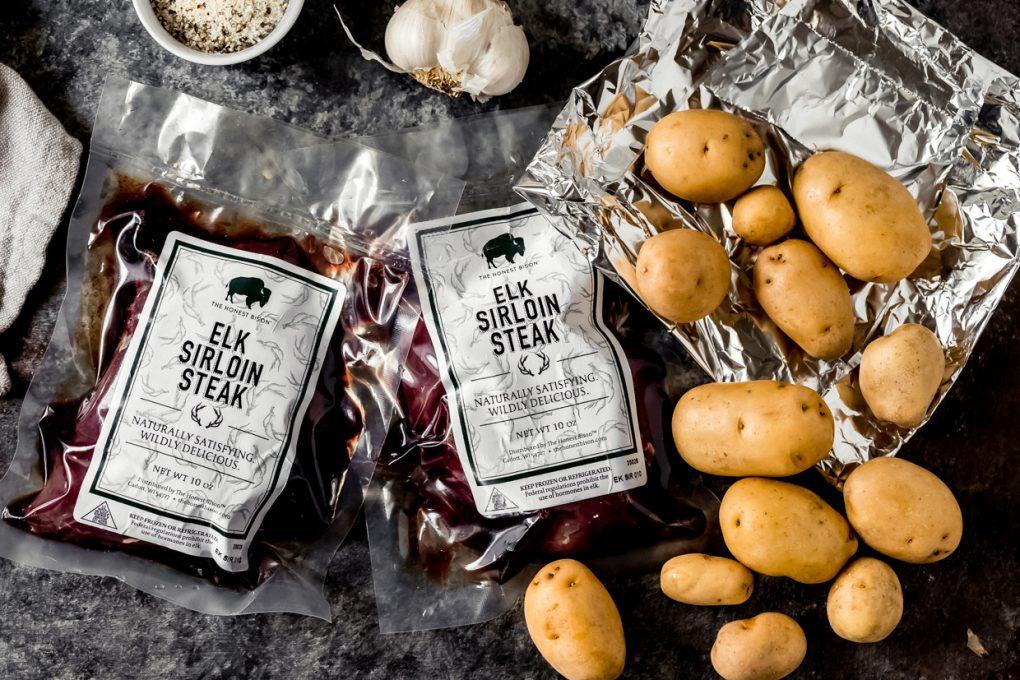 ingredients to make elk sirloin foil packs