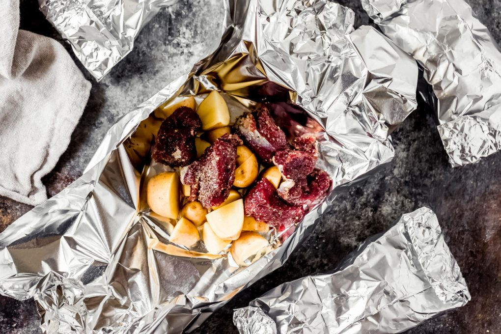 uncooked elk sirloin foil pack