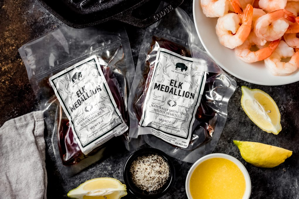 ingredients to make smoked elk steak and shrimp