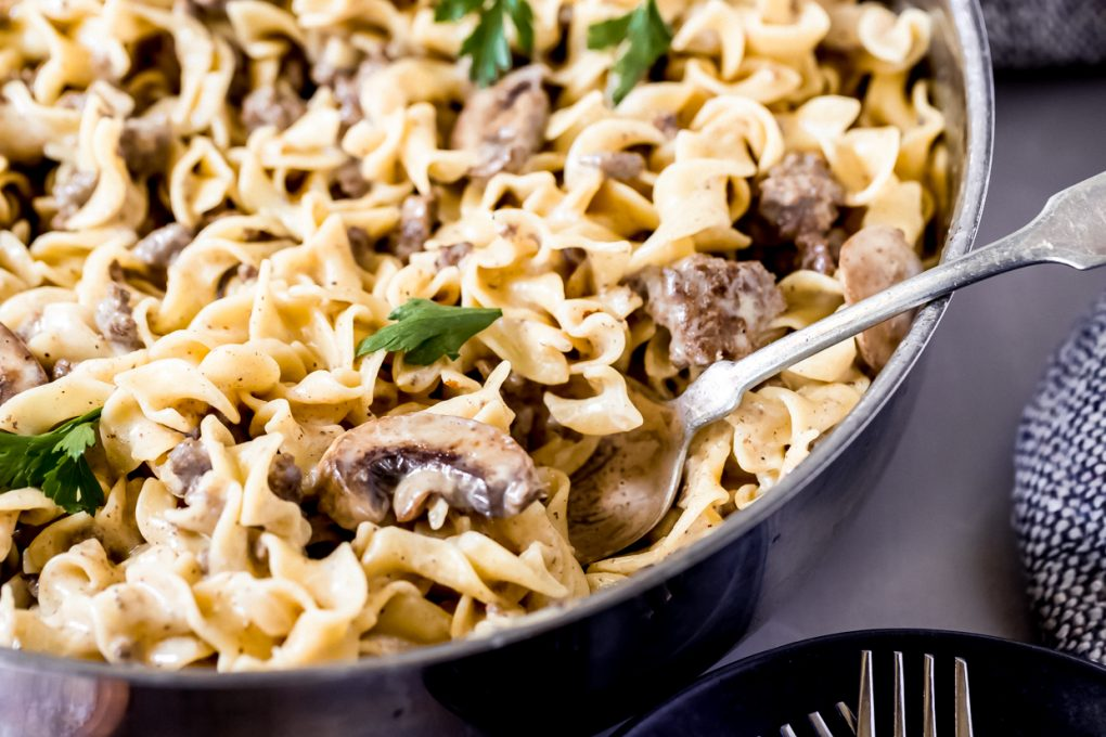 a skillet of ground elk stroganoff