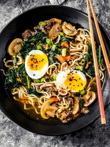 a bowl of elk bone broth ramen