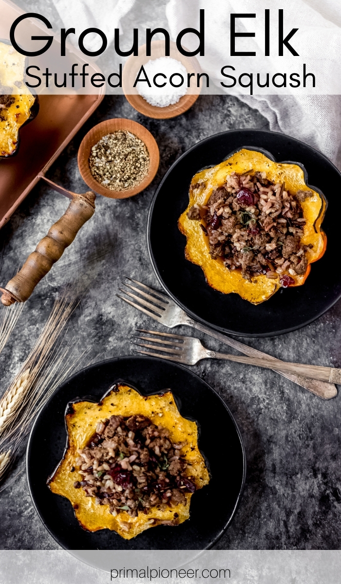 two ground elk stuffed acorn squash