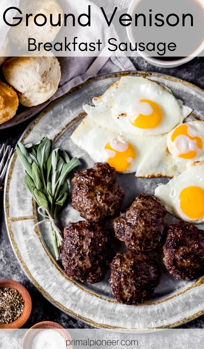 a platter of ground venison breakfast sausage patties with eggs