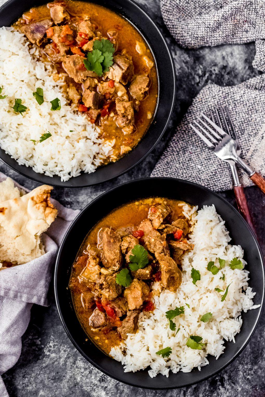 two bowls of instant pot venison curry