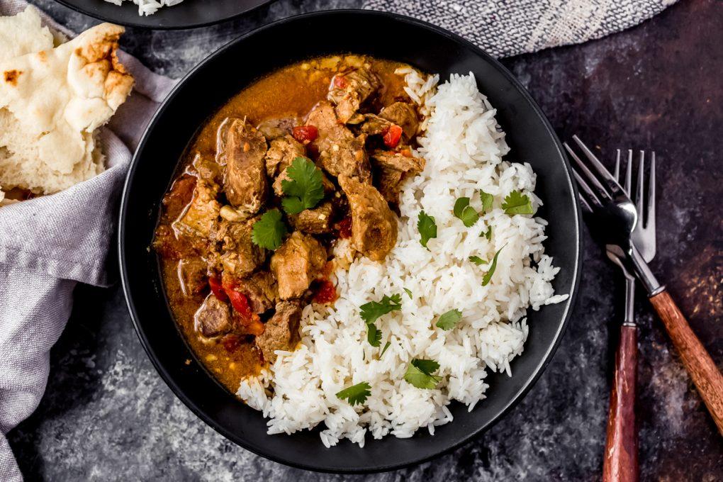 a bowl of instant pot venison curry