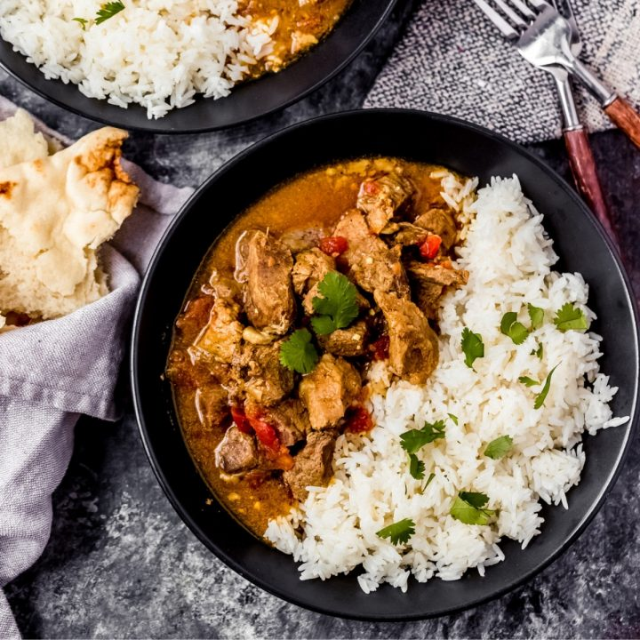 a bowl of venison curry