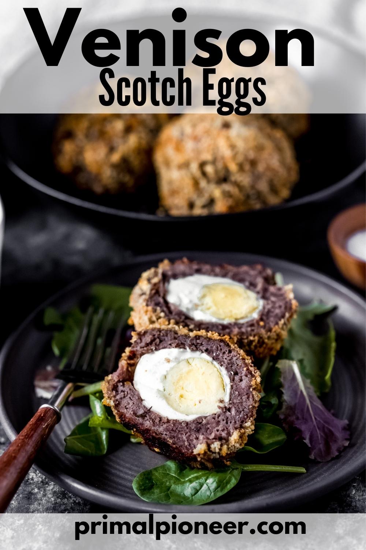 venison scotch eggs on a plate