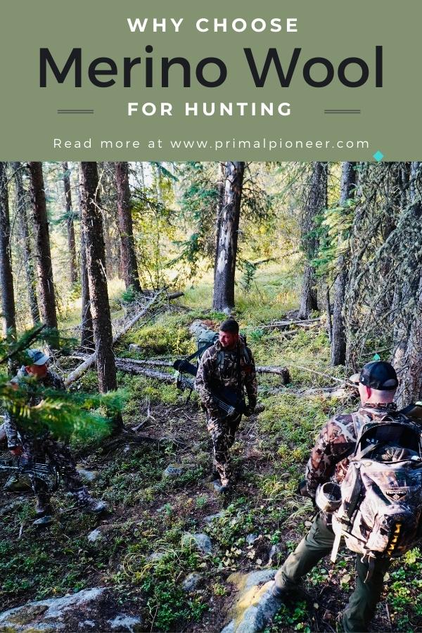 men elk hunting wearing merino wool base layer