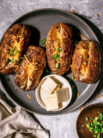 a plate of Traeger baked potato
